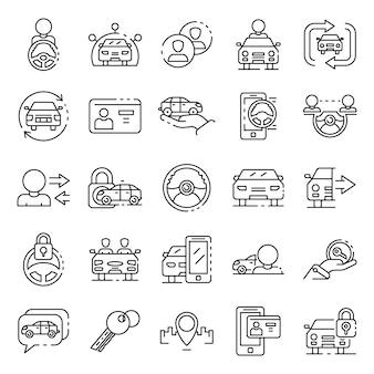 Conjunto de ícones de compartilhamento de carro, estilo de estrutura de tópicos