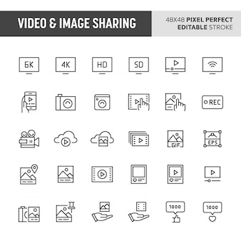 Conjunto de ícones de compartilhamento de vídeo e imagem