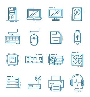 Conjunto de ícones de componentes de computador com estilo de estrutura de tópicos