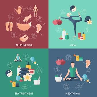 Conjunto de ícones de composição de acupuntura