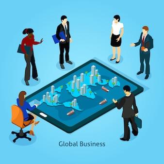 Conjunto de ícones de composição isométrica de pessoas de negócios
