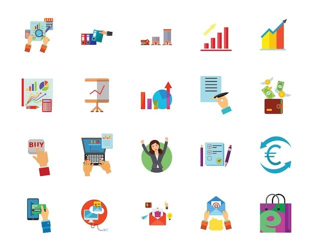 Conjunto de ícones de compradores e vendedores