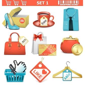 Conjunto de ícones de compras de vetor 1