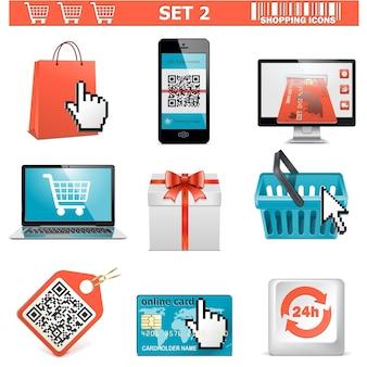 Conjunto de ícones de compras de vetor 2