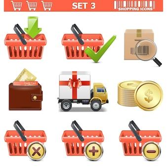 Conjunto de ícones de compras de vetor 3 isolados no fundo branco