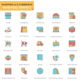 Conjunto de ícones de compras e comércio eletrônico de linha plana
