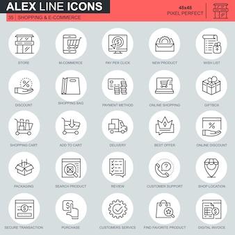 Conjunto de ícones de compras e e-commerce de linha fina