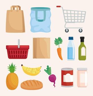 Conjunto de ícones de compras e mantimentos
