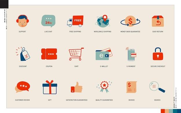 Conjunto de ícones de compras on-line de comércio eletrônico arte vetorial de traço editável para aplicativo da web, etc.