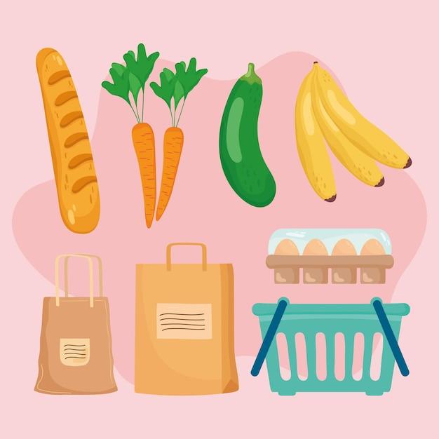 Conjunto de ícones de compras
