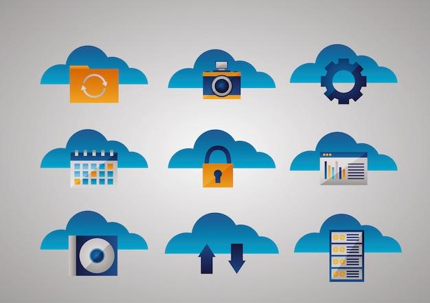 Conjunto de ícones de computação em nuvem
