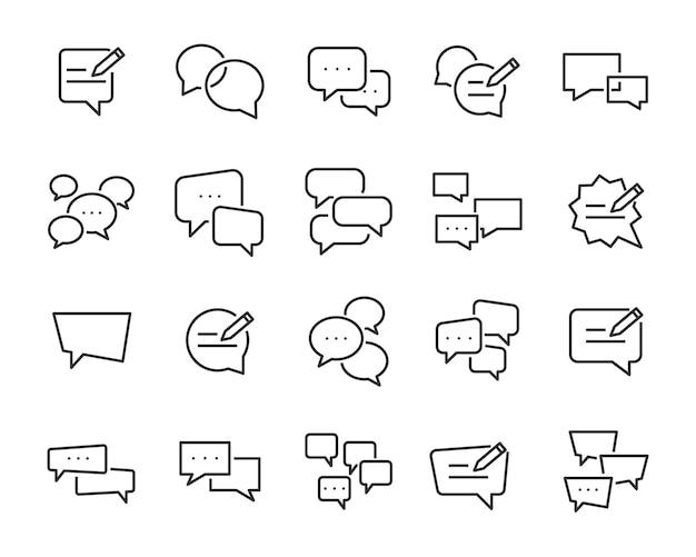 Conjunto de ícones de comunicação, como bate-papo, feedback, emoção, revisão