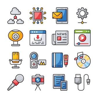 Conjunto de ícones de comunicação de dados