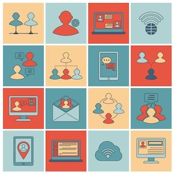Conjunto de ícones de comunicação linha plana