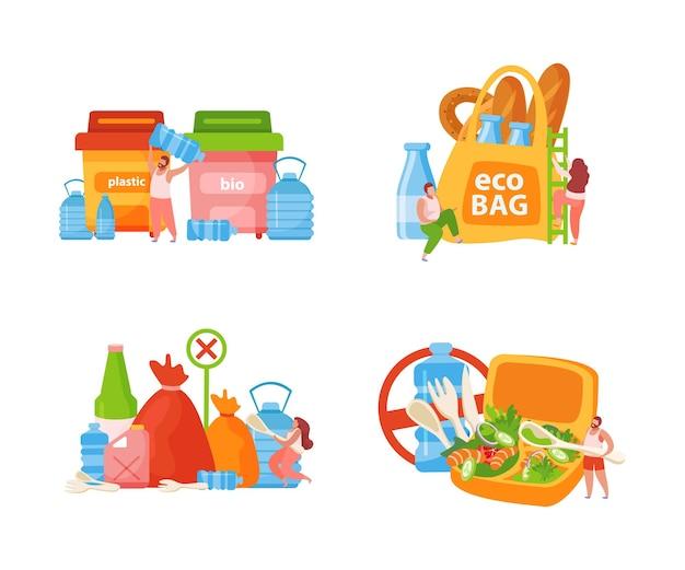 Conjunto de ícones de conceito de autocuidado plano com bio caixas, sacos ecológicos e proibição de ilustração de plástico