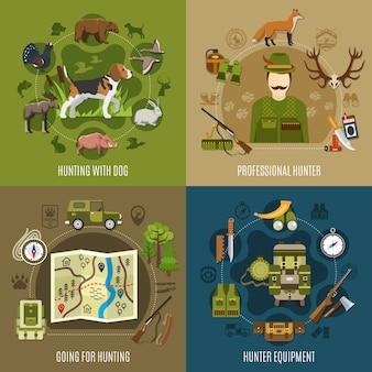 Conjunto de ícones de conceito de caça