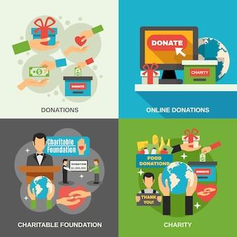 Conjunto de ícones de conceito de caridade