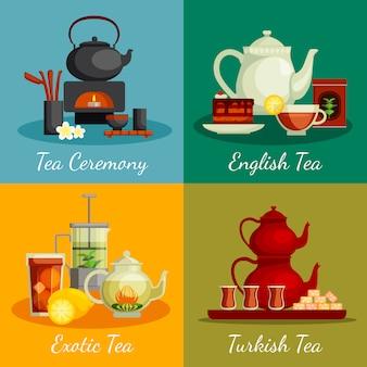 Conjunto de ícones de conceito de chá com símbolos de cerimônia do chá
