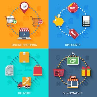 Conjunto de ícones de conceito de compras