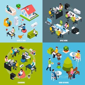 Conjunto de ícones de conceito de coworking