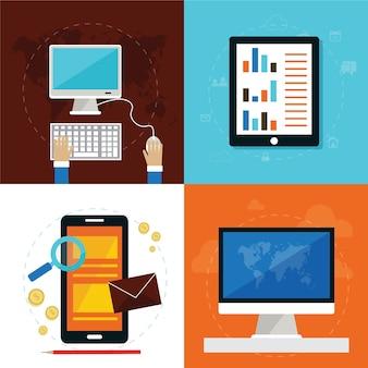 Conjunto de ícones de conceito de design plano