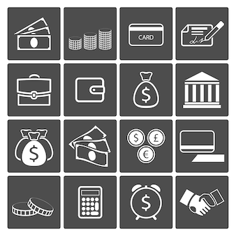 Conjunto de ícones de conceito de dinheiro