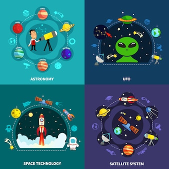 Conjunto de ícones de conceito de exploração espacial