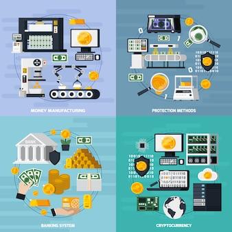 Conjunto de ícones de conceito de fabricação de dinheiro