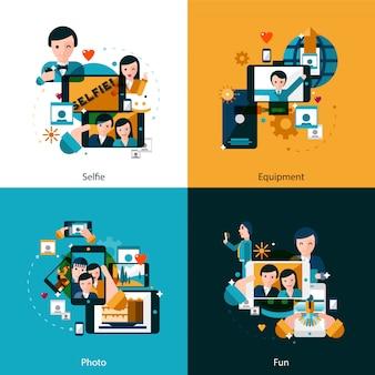 Conjunto de ícones de conceito de foto móvel