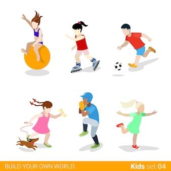 Conjunto de ícones de conceito de infográfico de web de crianças adolescentes esportes ativos.