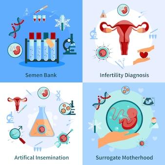 Conjunto de ícones de conceito de inseminação artificial