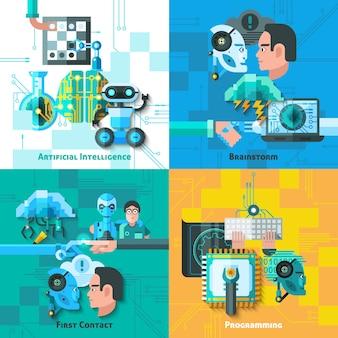 Conjunto de ícones de conceito de inteligência artificial
