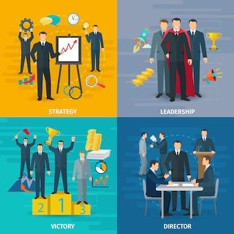 Conjunto de ícones de conceito de liderança com símbolos de vitória e diretor de estratégia