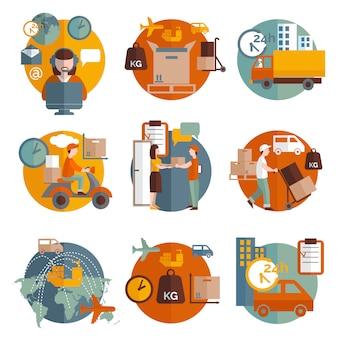 Conjunto de ícones de conceito de logística