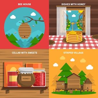 Conjunto de ícones de conceito de mel