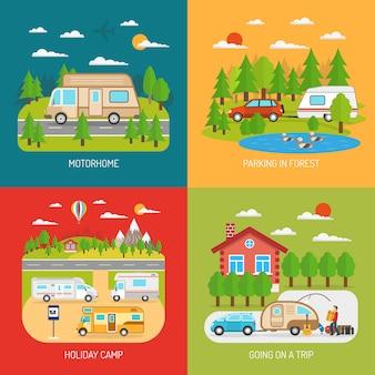 Conjunto de ícones de conceito de motorhome