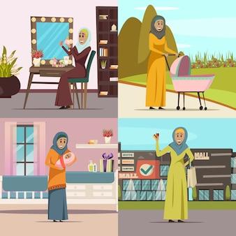 Conjunto de ícones de conceito de mulher árabe com símbolos de compras isolados plana