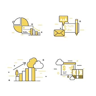 Conjunto de ícones de conceito de negócio de diagrama