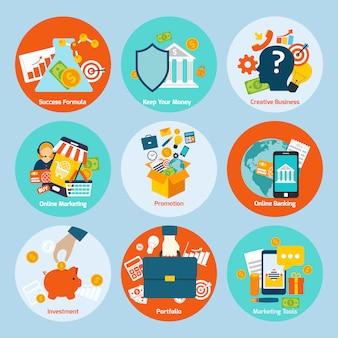 Conjunto de ícones de conceito de negócio