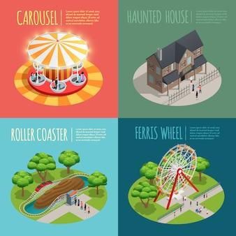 Conjunto de ícones de conceito de parque de diversões com casa assombrada
