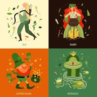 Conjunto de ícones de conceito de personagens de contos de fadas da floresta