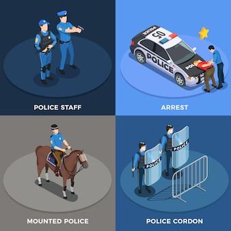 Conjunto de ícones de conceito de polícia