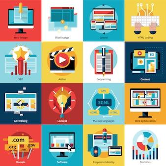 Conjunto de ícones de conceito de processo criativo