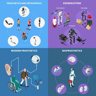 Conjunto de ícones de conceito de prótese biônica de exoesqueleto