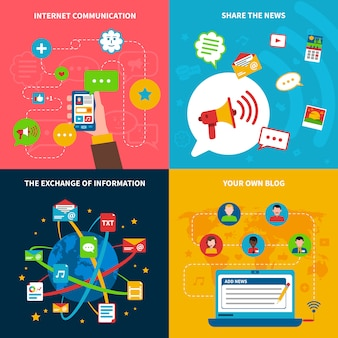 Conjunto de ícones de conceito de rede social