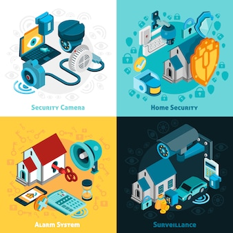 Conjunto de ícones de conceito de sistema de segurança
