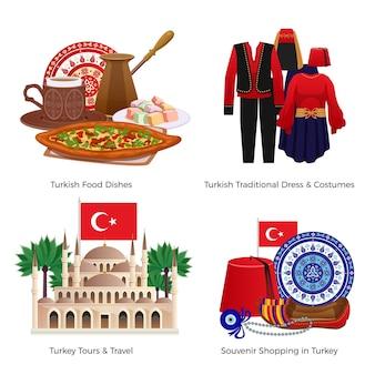 Conjunto de ícones de conceito de turismo na turquia com ilustração plana isolada de símbolos de comida e compras