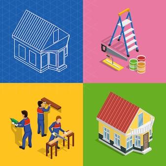 Conjunto de ícones de conceito isométrica de renovação