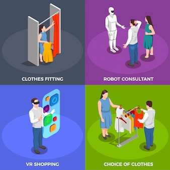 Conjunto de ícones de conceito isométrico de consumidores