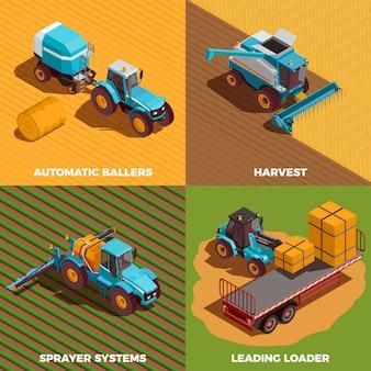 Conjunto de ícones de conceito isométrico de máquinas agrícolas